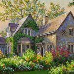 Cand am cumparat prima casa. Portret la comanda pictat manual. Portret cu casa. Portret arhitectura.