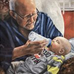 Cand am devenit bunici. Portret la comanda pictat manual. Portret de familie, Portret bunic cu nepotul.