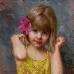 Portret impresionist.Portret copii. Portret fetita. Portret pictat manual la comanda. Tablou cu portret personalizat