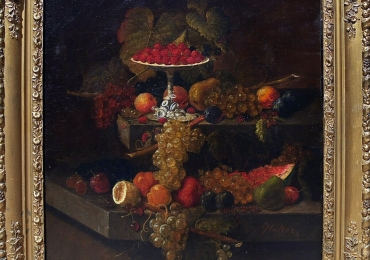 19 C European Oil Painting on Canvas Stilllife, tablou natura moarta, tablou natura statica cu fructe, tablou cu masa festiva