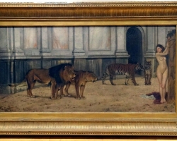 19th Century Classical Ancient Rome Colosseum Nude Maiden Lions Tigers.