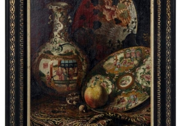 19th Century French Napoleon III Period Framed Orientalist Still Life Painting, Tablou natura moarta cu vase chinezesti pictate, tablou natura statica