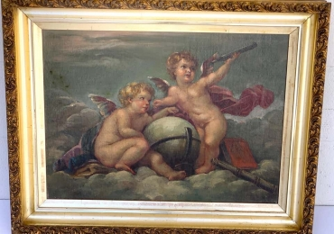 19th Century Putti Allegory Painting, Boucher, Tablou natura moarta cu ingerasi, tablou natura statica,