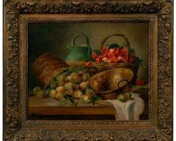 19th Century Still Life Framed Oil Antique Painting of Fruit Signed By M. Morin, Tablou natura moarta, tablou natura statica