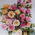 tablou cu trandafiri, multicolori, ulei in cutit ,Bissinger
