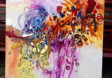 Tablou abstract,patrat, original by Bissinger