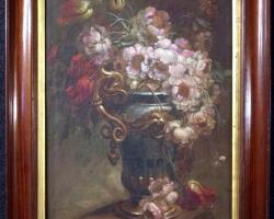 20th Century Oil on Canvas Italian Still Life Paintings, 1930,, Buchet de flori in vaza superba, tablou cu flori galbene, tablou floral