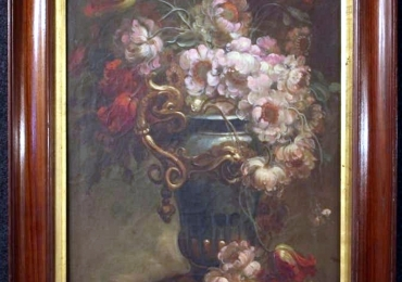20th Century Oil on Canvas Italian Still Life Paintings, 1930,, Buchet de flori in vaza superba, tablou cu flori galbene, tablou floral