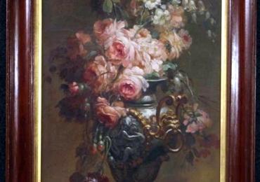 20th Century Oil on Canvas Italian Still Life Paintings, 1930, Buchet de trandafiri , tablou cu flori superbe, tablou floral, tablou cu aranjament floral in vaza bogat ornata