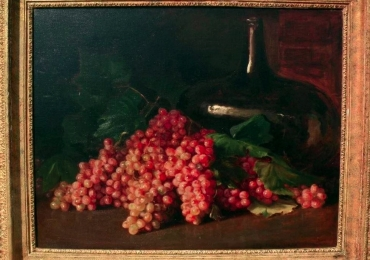 20th c impressionist still life, grapes in a table setting, Tablou natura moarta cu struguri, tablou natura statica
