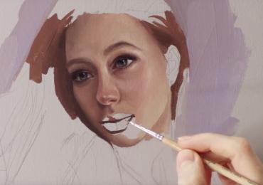 Portret dupa fotografie. Atelier de pictori profesionisti