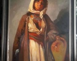 Tignca de la Ghergani, reproducere celebra N Grigorescu tablou pictat in ulei pe panza 113×88 cm.