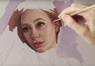 Portret dupa poza ta. Atelier de pictori profesionisti, tablou pictat