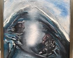 Tablou abstract, doua chipuri ceresti, tablou modern decorativ 37.5×31 cm
