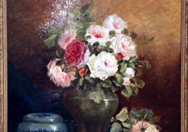 9th C French Still Life Flower Painting,Buchet de flori, tablou cu flori de trandafiri, tablou floral, pictura cu trandafiri