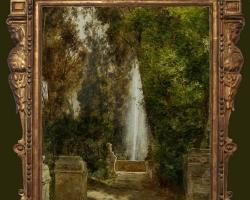 A Fountain at the park, Tablou cu peisaj de vara, tablou cu parc, tablou cu flori, peisaj din n