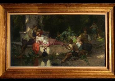 A Summer Idyll by Cesare-Auguste Detti, Tablou cu peisaj de vara, tablou cu parc, tablou cu flori, peisaj din natura, tablou cu indragostiti, tablou cu lac in padure