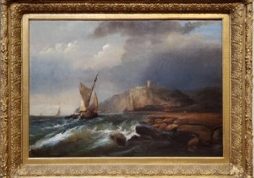 A W Harrison 19th C Marine Landscape Painting, Tablou cu peisaj marin, tablou cu stanci la malul marii, tablou cu valurile marii, tablou cu vapoare