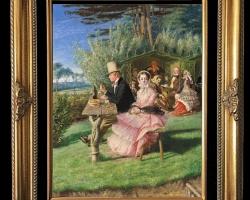 A drop of bitter in the cup of joy, Tablou cu peisaj de vara, tablou cu parc, tablou cu oameni
