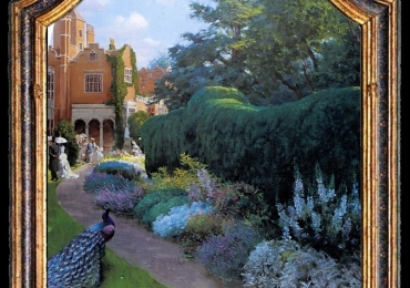 A garden party in Holland Park, Tablou cu peisaj de vara, tablou cu parc, tablou cu flori, peisaj din natura, tablou cu paun