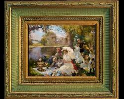 A picnic by the lake by Vladimir Sergeyevich Pervuninsky, Tablou cu peisaj de vara, tablou cu parc, tablou cu flori, peisaj din natura, tablou cu oameni in parcul cu lac