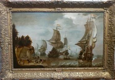 Abraham Storck, War 17th c. Oil Painting, Tablou cu peisaj marin, tablou cu stanci la malul marii, tablou cu valurile marii, tablou cu vapoare