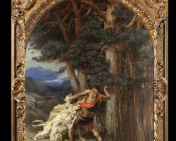 Actaeon the God by Briton Riviere, RA, Tablou cu scena vanatoreasca, tablou cu animale, tablou cu peisaj din padure, tablou cu mituri si legende