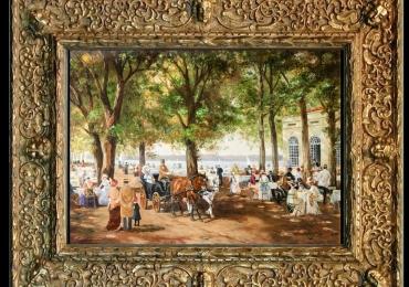 Adolf Lohmann, Tablou cu peisaj de vara, tablou cu rau, tablou lac langa padure, peisaj din natura, tablou cu nobili in parc langa lac, tablou cu oameni in parc