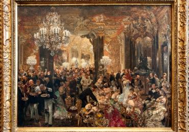 Adolph Menzel Dinner of the Opera Ball, 1878, Tablou cu scena de la opera, tablou cu oameni adunati la Opera, tablou cu oameni la bal, tablou cu aristocrati