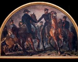 Adolph von Menzel,  Blücher und Wellington auf dem Schlachtfeld von Belle-Alliance 1858, Battlefield of Waterloo. Peisaj istoric