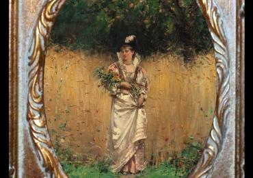 Adrien Moreau, Gathering Wild Flowers, Tablou cu peisaj de vara, tablou cu parc, tablou cu flori, peisaj din natura, tablou cu femeie in lanul cu grau si flori de camp