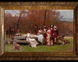 Adrien Moreau, Tablou cu peisaj de vara, tablou cu parc, tablou cu flori, peisaj din natura