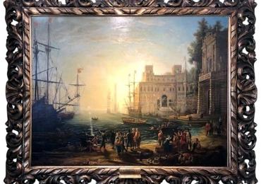 After Claude Lorraine, Tablou cu peisaj marin, tablou cu stanci la malul marii, tablou cu valurile marii, tablou cu port maritim, tablou cu oameni in port