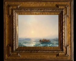 Aivazovsky, Ice on Dnipro, Tablou cu peisaj marin cu vapoare, tablou nautic, tablou cu barca in largul marii