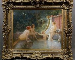 Albert Auguste Fourié, Young bathers in a fountain, Tablou cu peisaj de vara, tablou cu parc, tablou cu flori, peisaj din natura, tablou cu femei la inbaiat intr-o fantana arteziana, tablou cu femei nud