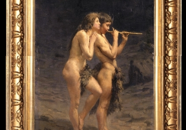Alcide Davide Campestrini, Primi suoni, peisaj arid cu doua personaje nud, tablou peisaj de vara