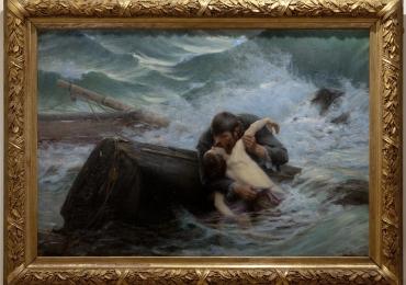 Alfred Guillou, Adieu 1892, Tablou cu peisaj marin cu naufragiati, tablou cu furtuna pe mare,  tablou nautic, tablou cu malul marii