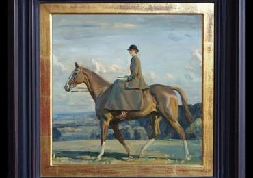 Alfred James Munnings, Portrait Lady Barbara Lowther, on Horseback, Tablou cu peisaj de primavara, tablou cu femeie calarind un cal tablou cu portret