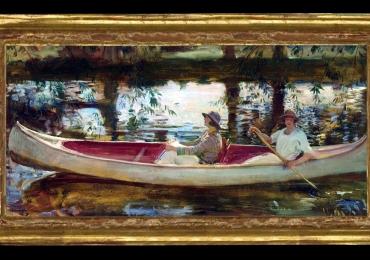 Alfred James Munnings The White Canoe, , Tablou cu peisaj Venetian, tablou cu gondole, tablou cu vapoare, tablou nautic, tablou cu canoe, tablou cu femei