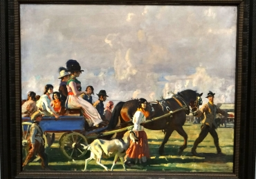 Alfred Mummings Arrival at Epsom Downs for Derby Week, Tablou cu peisaj de vara, tablou cu oameni in parc, tablou cu flori, peisaj din natura