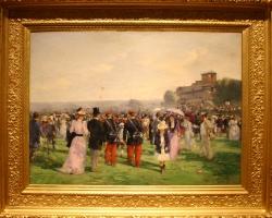 Alfred Smith, După cursele de la Auteuil  Après les cours à Auteuil, 1893, Tablou cu peisaj de vara, tablou cu oameni in parc, tablou cu castel, peisaj din natura