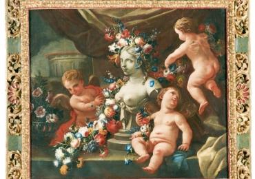 Allegory of sculpture, Tablou natura moarta, tablou natura statica cu copii, Buchet de flori, tablou cu flori in vaza, tablou floral