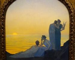 Alphonse Osbert  Soir antique, Tablou cu peisaj marin, tablou nautic, tablou cu malul marii, Tablou cu femeie la malul marii, tablou cu apus de soare