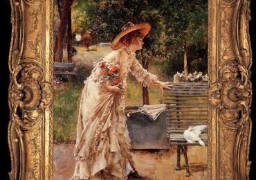 An Afternoon at the Public Park, Tablou cu peisaj de vara, tablou cu femeie inparc, tablou cu flori, peisaj din natura, tablou femeie cu palarie si haine elegante