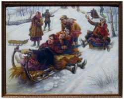 Anatoly Sokoloff Russian American Artist Winter Scene Painting, circa 1960s, Tablou cu oameni la sanius, tablou cu peisaj de iarna, tablou cu oameni veseli