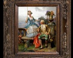 Angling for a Good Catch by Cesare Auguste Detti, Tablou cu indragostiti la pescuit, tablou rococo, tablou cu peisaj de vara