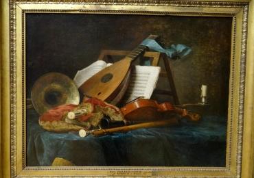 Anne Vallayer Coster, Musical instruments, tablou natura moarta cu instrumente muzicale, tablou natura statica cu vioara partitura si mandolina