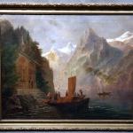Antique 19th Century German Romantic Landscape Castle on Mountain Islan