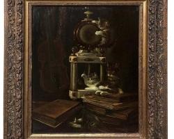 Antique Framed Oil Painting on Board by J. Hovener