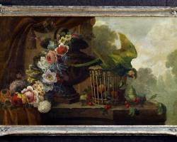 Antique French painting still life with parrot of the 1900, Tablouri cu flori Realizate la Comanda